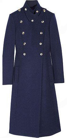 Double-Breasted Cashmere Military Coat in Dark Blue | DESIGNER INSPIRED FASHIONS