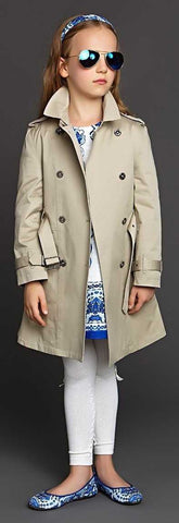 Check-Lined Trench Coat - Apricot or Red - DESIGNER INSPIRED FASHIONS