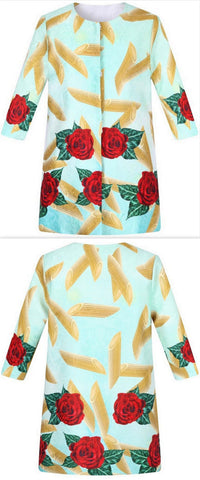 Rose & Pasta Print Coat - DESIGNER INSPIRED FASHIONS