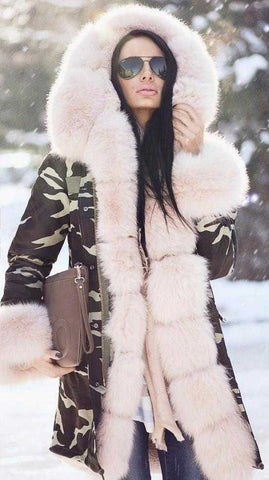 Army Parka Military Camouflage Parka Coat with Fox Fur - DESIGNER INSPIRED FASHIONS