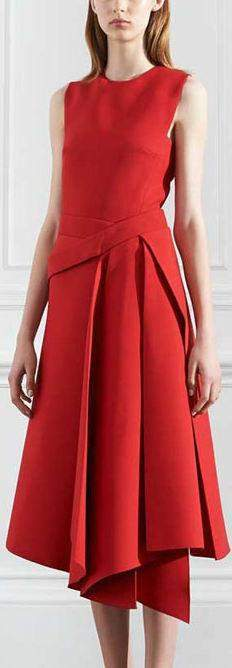 Red Asymmetrical Flared Midi Dress - DESIGNER INSPIRED FASHIONS