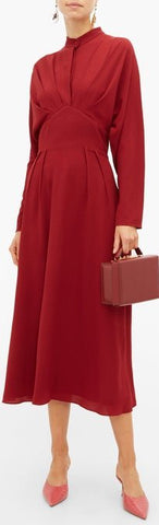 'Autumn' Pleated High-Neck Crepe Midi Dress | DESIGNER INSPIRED FASHIONS