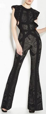 'Kasie' Rose Multi-Texture Plaited Jacquard Jumpsuit-Black - DESIGNER INSPIRED FASHIONS