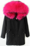 Black Fox Fur-Lined Parka Jacket-Various Colors to Choose From - DESIGNER INSPIRED FASHIONS