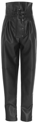 Pegged High-Rise Faux-Leather Pants | DESIGNER INSPIRED FASHIONS