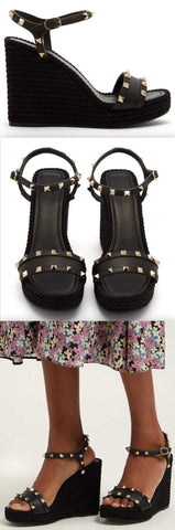 'Torchon' Rockstud Leather Wedge Sandals