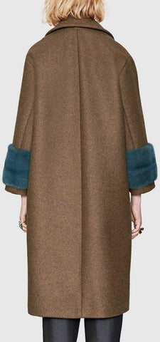 e7544d913 ... Wool-Blend Military Style Coat with Faux-Fur Cuffs - DESIGNER INSPIRED  FASHIONS ...