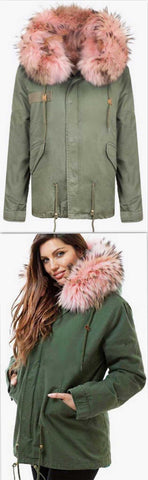 Army-Green Fur Parka Jacket-Pink Fur | DESIGNER INSPIRED FASHIONS