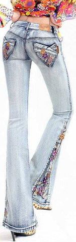 Floral-Embroidered Flared Jeans-Light Wash | DESIGNER INSPIRED FASHIONS
