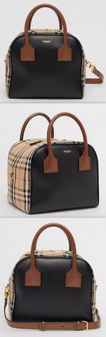 Small Leather and Vintage Check Cube Bag | DESIGNER INSPIRED FASHIONS