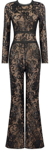 Belted Sequin Lace and Mesh Jumpsuit *Limited Stock* | DESIGNER INSPIRED FASHIONS