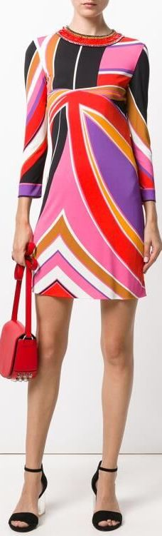 Abstract Print Silk Mini Dress