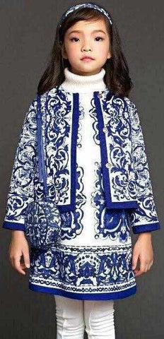 Porcelain Print Jacket & Dress Set, Blue - DESIGNER INSPIRED FASHIONS