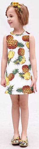 Pineapple Print Dress, White - DESIGNER INSPIRED FASHIONS