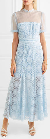 Embroidered Swiss-Dot Tulle Maxi Blue Dress