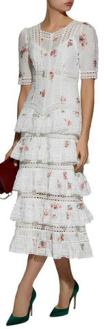 'Heathers' Tiered Ruffle Midi White/Floral Printed Dress