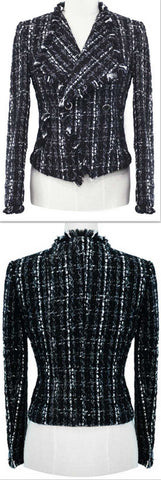 Black & White Tweed Knit Jacket - DESIGNER INSPIRED FASHIONS