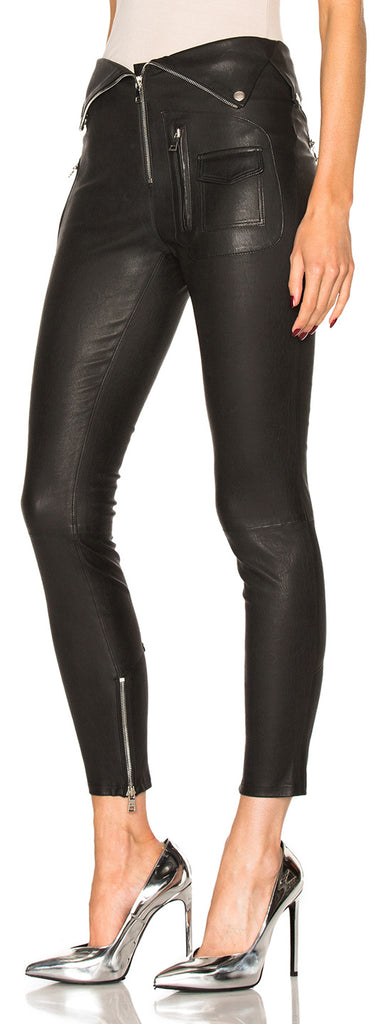 Fold-Over Faux-Leather Pants | DESIGNER INSPIRED FASHIONS