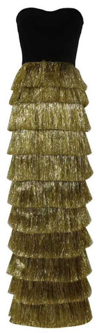Strapless Tinsel-Tiered Gown