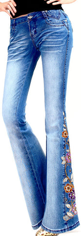 Floral-Embroidered Flared Jeans-Medium Wash | DESIGNER INSPIRED FASHIONS