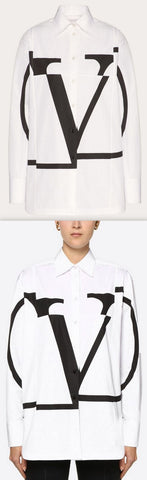 'VLOGO' Poplin Shirt, Black/White | DESIGNER INSPIRED FASHIONS