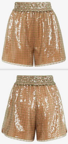 Check Sequin Shorts