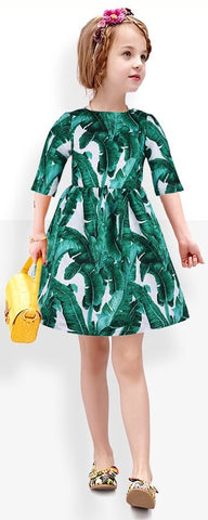 Banana Leaf Printed Dress - DESIGNER INSPIRED FASHIONS