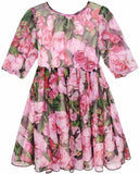 Floral Print Silk Dress with Appliques