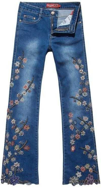 Bead-Embellished Floral Embroidered Faded Jeans - DESIGNER INSPIRED FASHIONS