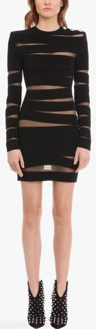 Black Knit Dress with Sheer Panels | DESIGNER INSPIRED FASHIONS