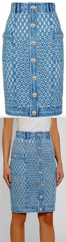 Cut-Out Denim Skirt