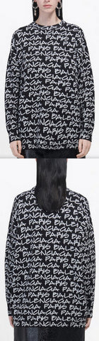Crewneck in Black and White Paris Gradient Wool Knit | DESIGNER INSPIRED FASHIONS
