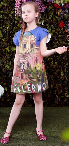 Postcard Print Dress - DESIGNER INSPIRED FASHIONS
