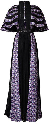 Floral-Paneled Cape Gown | DESIGNER INSPIRED FASHIONS