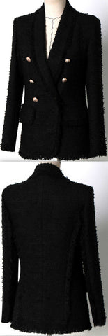 Black Double Breasted Fringed Tweed Blazer