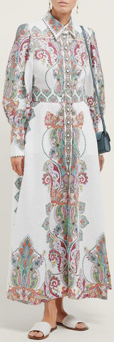 'Ninety-Six' Paisley-Print White Shirt-Dress