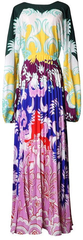 Paisley Print Long-Sleeve Maxi Dress | DESIGNER INSPIRED FASHIONS