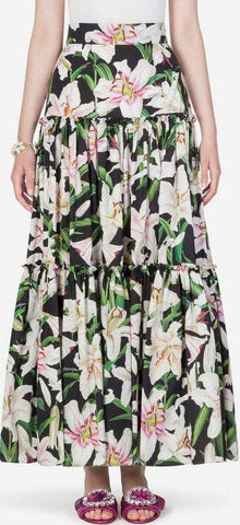 Tiered Lily Print Skirt | DESIGNER INSPIRED FASHIONS