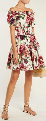 Rose and Peony-Print Dress