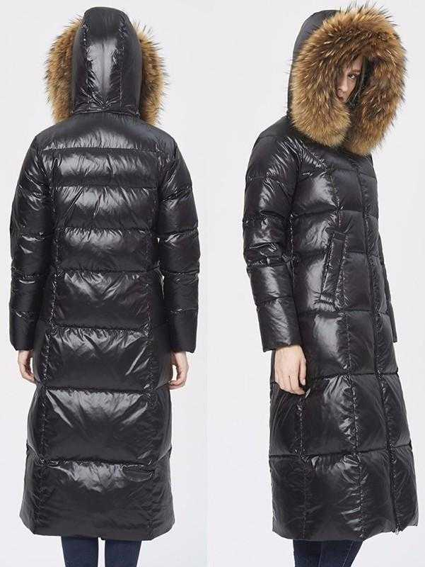 Black Glossy Fur Hooded Long Puffy Down Coat - DESIGNER INSPIRED FASHIONS