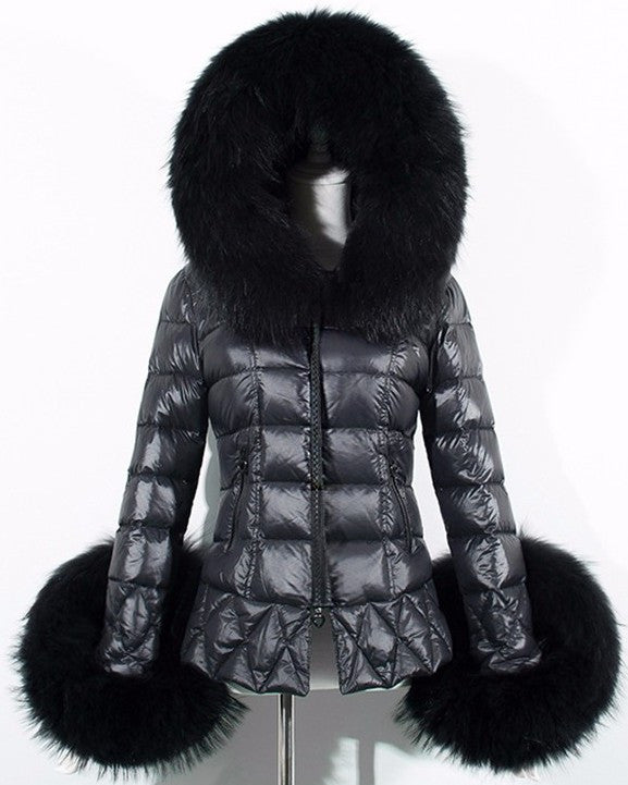 Black Faux-Fur Trim Down Jacket - DESIGNER INSPIRED FASHIONS
