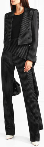 Pinstripe Cropped Jacket and Pant Suit | DESIGNER INSPIRED FASHIONS