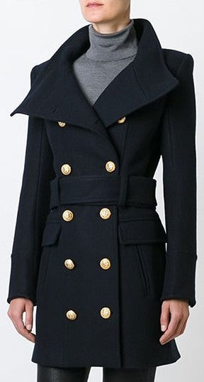 Belted Double-Breasted High-Neck Short Wool Coat - DESIGNER INSPIRED FASHIONS