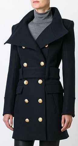 Belted Double-Breasted High-Neck Short Wool Coat | DESIGNER INSPIRED FASHIONS