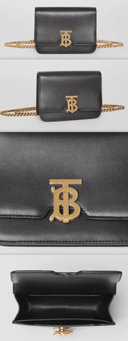 Belted Leather TB Bag, Black | DESIGNER INSPIRED FASHIONS