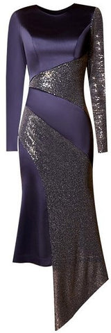 Asymmetrical Satin and Sequin Dress