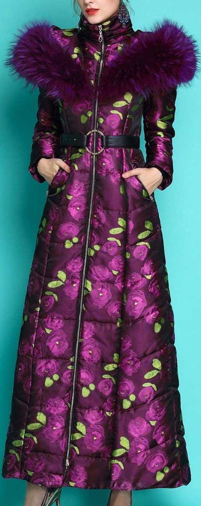 Floral Print Fur-Hooded Long Puffer Coat, Purple | DESIGNER INSPIRED FASHIONS