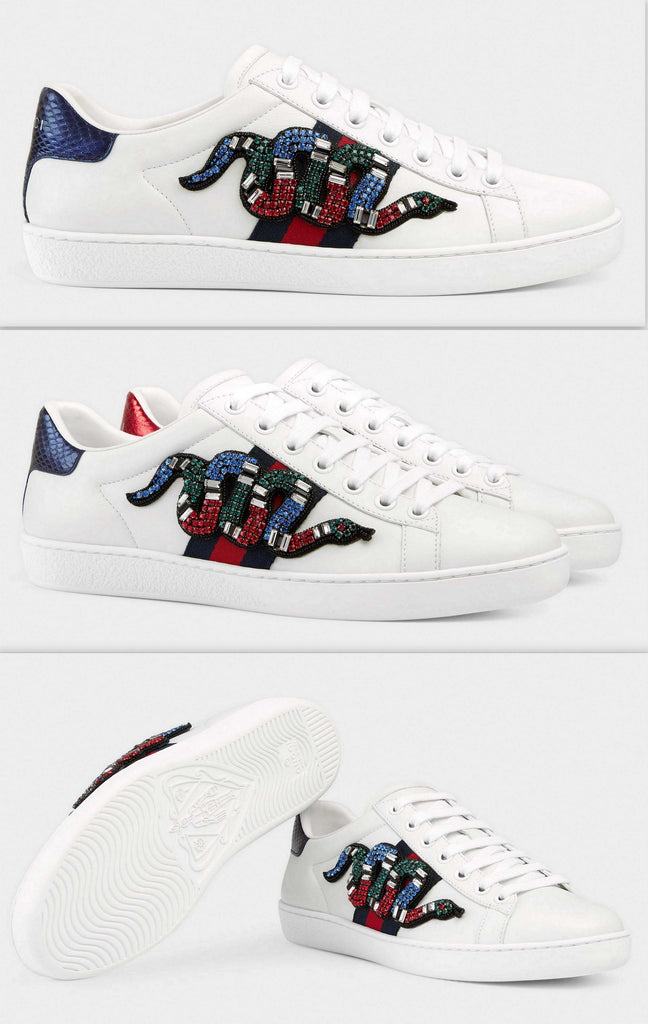 Ace Embroidered Low-Top Snake-Embellished Sneakers - DESIGNER INSPIRED FASHIONS