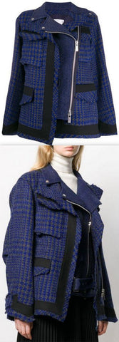 Blue and Gray Houndstooth Jacket | DESIGNER INSPIRED FASHIONS