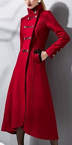 Long Double-Breasted Military Wool Coat in Red | DESIGNER INSPIRED FASHIONS